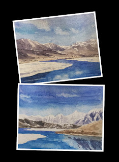 water colour study work of Gurudongmar lake, North Sikkim
