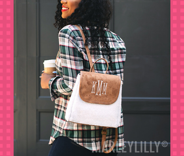 monogram backpack with plaid outfit