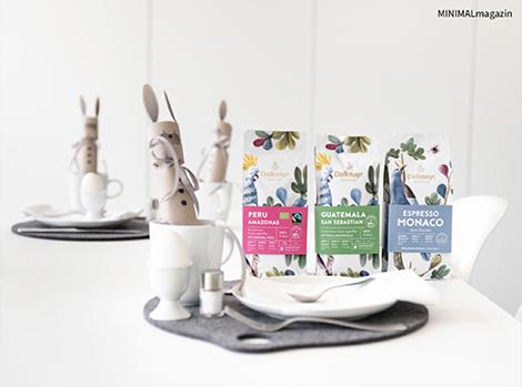 Osterhasen aus Paier mit süßer Füllung - Tischdeko für Ostern - osternester selber machen. Die Anleitung und die Druckvoralge findest du im MINIMALmagazin.