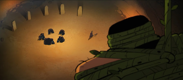 We view the scene from behind Spear's shoulders: the cave-man is bound and suspended far above the floor. Below him 5 hulking, gorilla-like apes sit in a vigil. Four standing stones act as sentinels in the top left of the image.