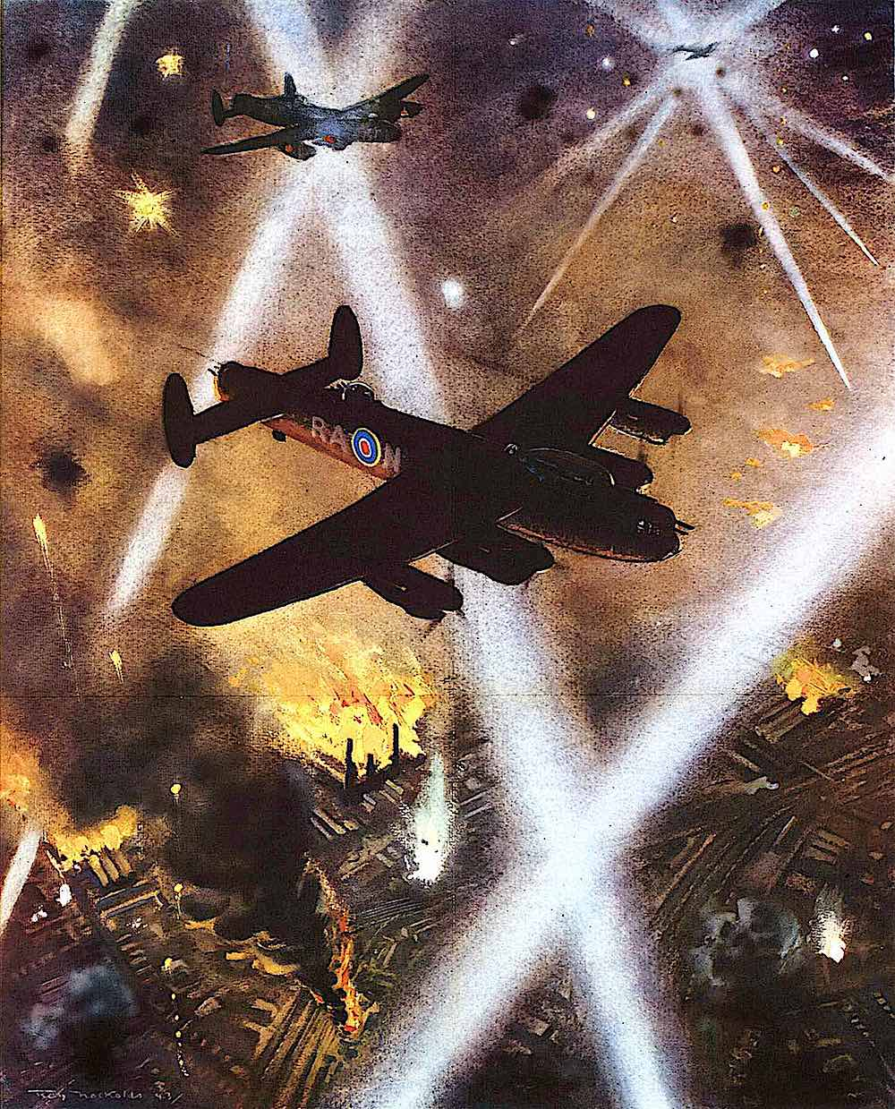 a Roy Nockolds illustration of a war bomber over a burning city