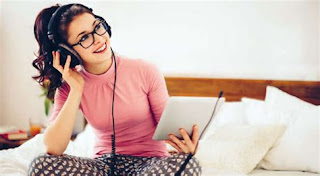 Girl listening poadcast on Nikhilbook