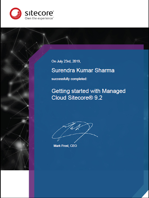 Certificate : Getting started with Managed Cloud Sitecore 9.2