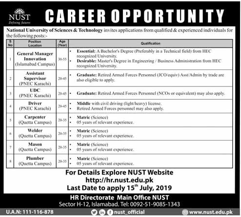 Jobs In National University Of Science And Technology 03 Jul 2019