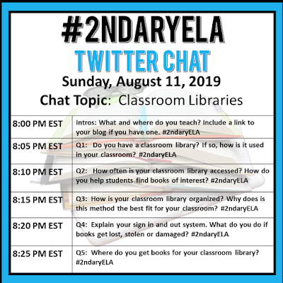 Join secondary English Language Arts teachers Sunday evenings at 8 pm EST on Twitter. This week's chat will be about classroom libraries.