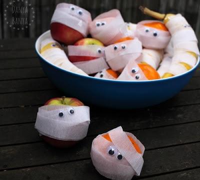 Fresh Fruit Halloween Mummies