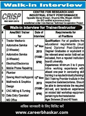 CRISP Bhopal Trainer & Instructor Recruitment 2019-20, CRISP Bhopal Recruitment 2019-20, Crisp Bhopal, Crisp India, Crisp Bhopal Free Training Course, Crisp Free Training Course, Bhopal Free Training Course, Free Training Course, Center for Research and Industrial Staff Performance (CRISP).