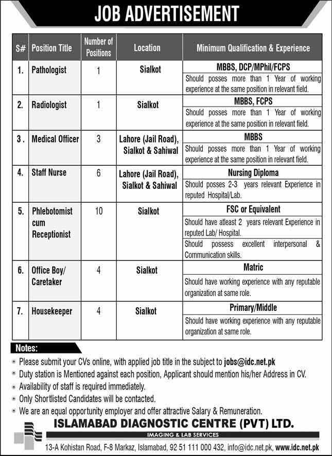 Latest Islamabad Diagnostic Centre Jobs Opportunities 2020
