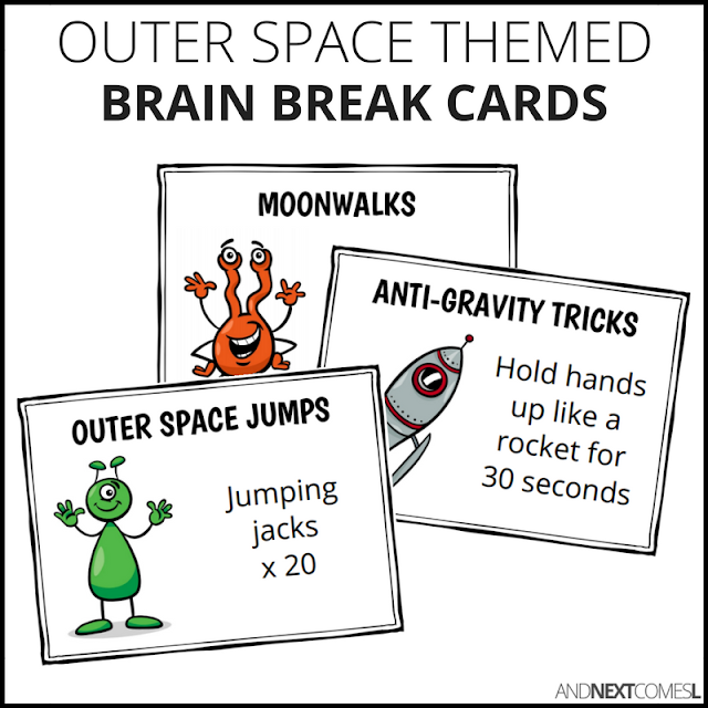 Outer space themed brain break cards for kids from And Next Comes L