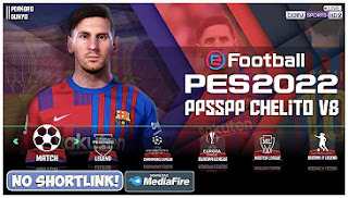 Download PES 2022 PPSSPP Android Chelito V8 English Commentary New Kits 2021/2022 & Update Face Player HD