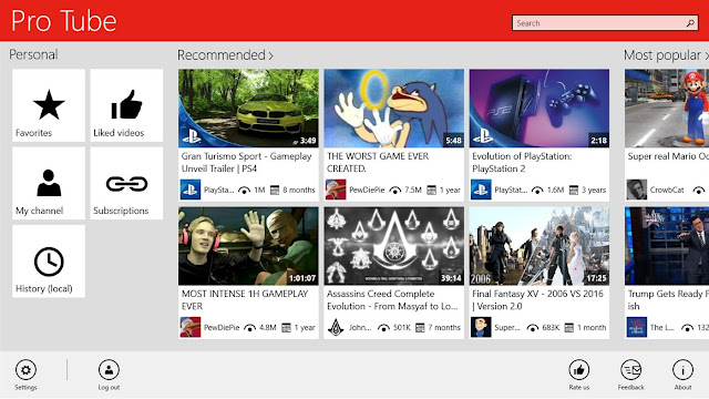 Pro Tube - أفضل تطبيقات يوتيوب في ويندوز 10