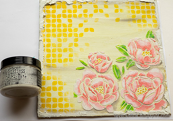 Layers of ink - Peony Mixed Media Canvas Tutorial by Anna-Karin Evaldsson. Add grit paste.