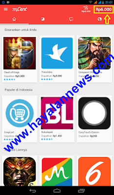 Aplikasi mCent beri anda pulsa android gratis, tunggu apalagi...? Install sekarang