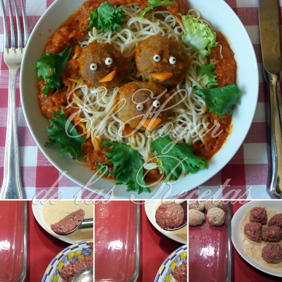 Albóndigas con ojos y pico, colocadas sobre nidos de espaguetis, rodeados de hojas de lechuga rizada