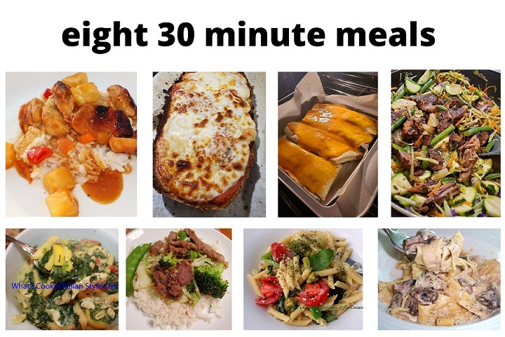this is a collage of 8 30 minute meals quick and easy