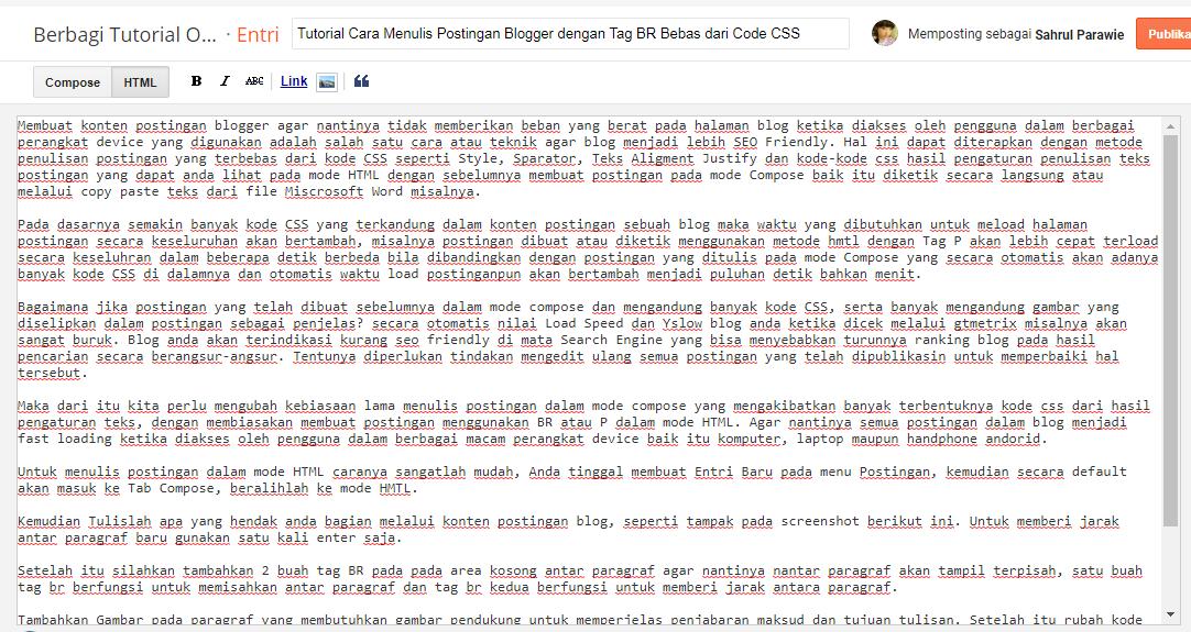 Cara Menulis Postingan Blogger