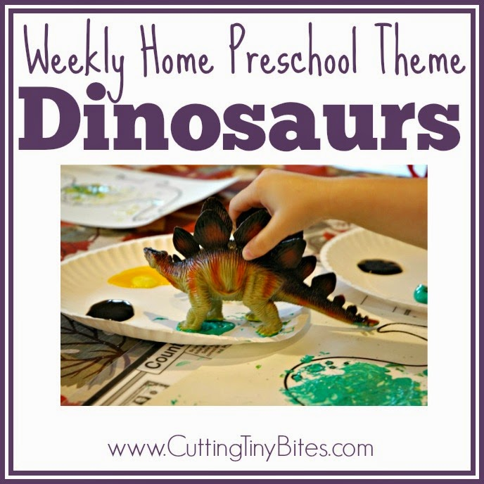 Dinosaur Theme Weekly Home Preschool- One week's worth of EASY activities for homeschool pre-k. Science, crafts, picture books, snack, and more!