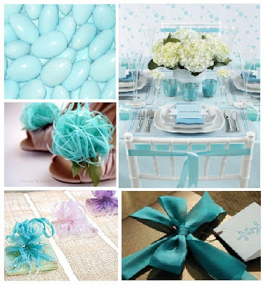 aqua and white inspiration board for wedding