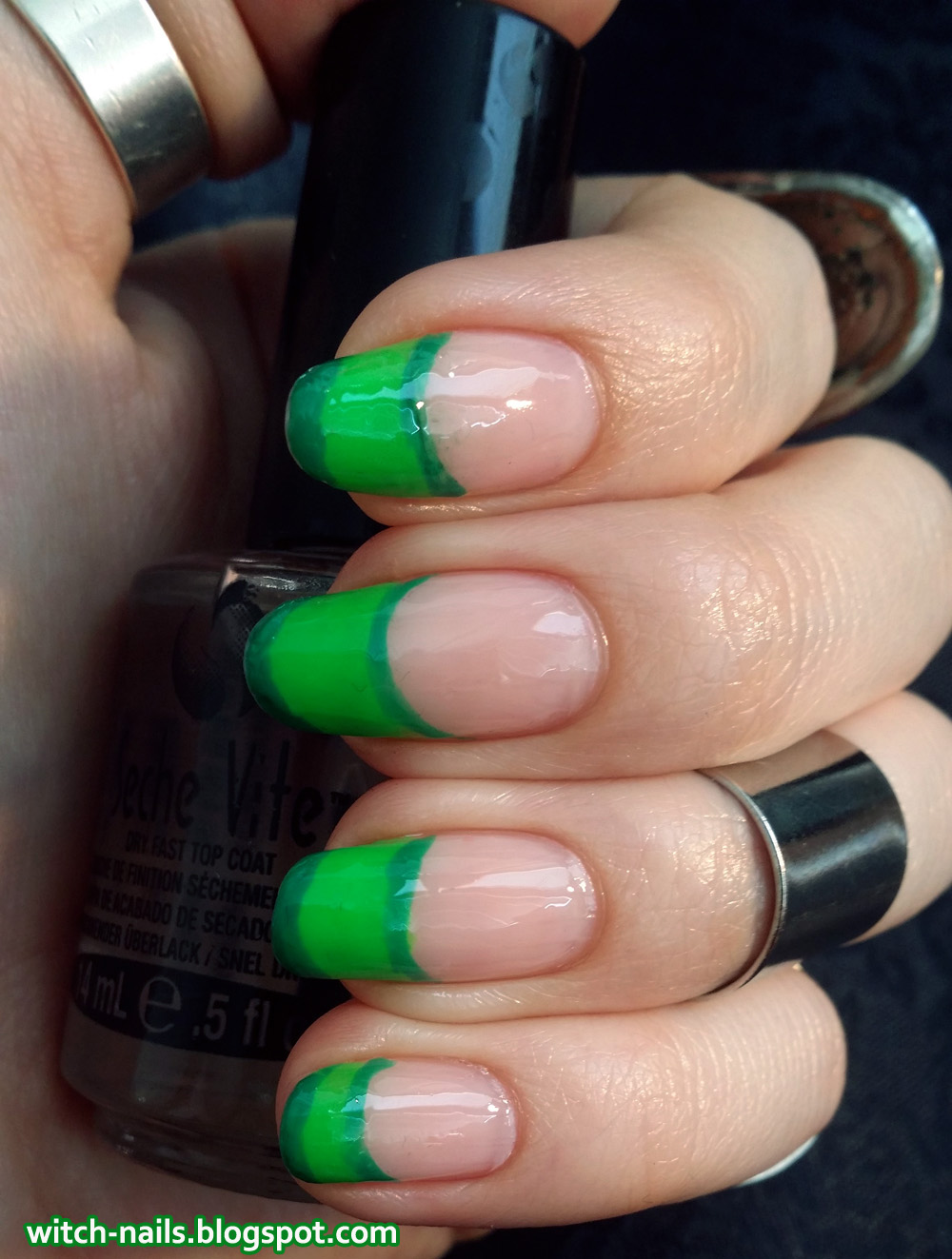 neon green nail tips manicure with metal rings