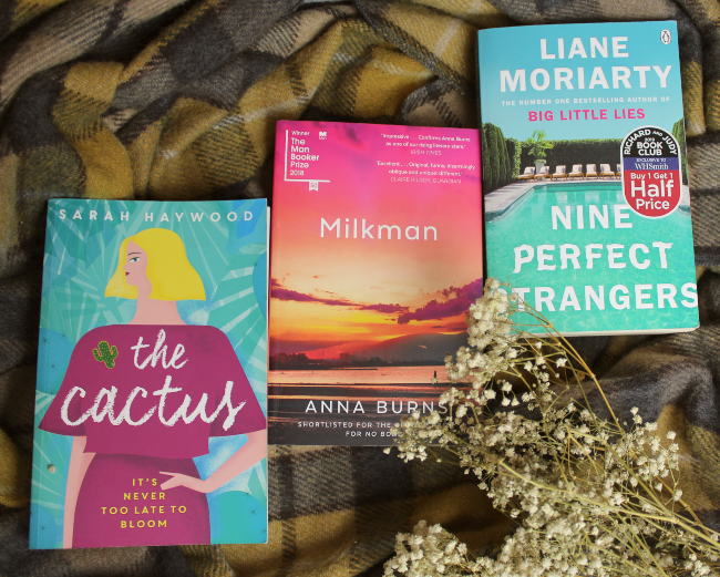 Three colourful book fronts - 'The Cactus', 'Milkman' and 'Nine Perfect Strangers'