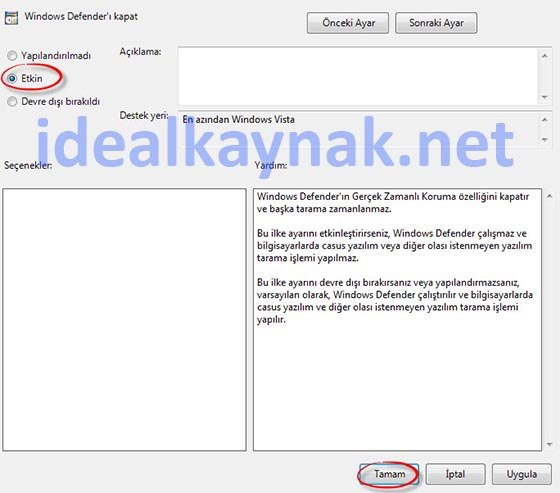 Windows Defender'i Devre Dışı Bırakma - Windows 10