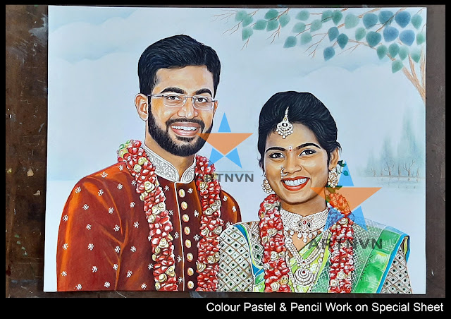 Top Best Professional Colour Pastel Pencil Pen Portrait Art Painting Artist in Hyderabad Telangana INDIA | ARTNVN