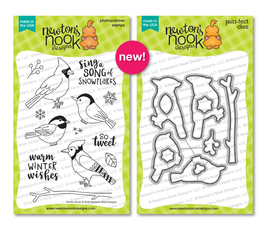 Winter Birds Stamp and Die Set by Newton's Nook Designs #newtonsnook