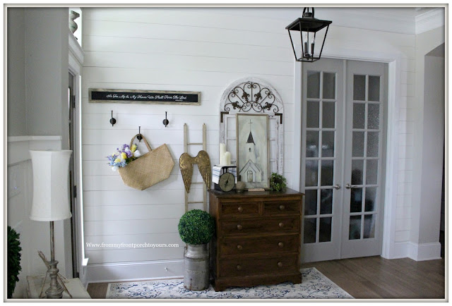 French Country Farmhouse Foyer-Vintage Style-French Doors-DIY-Shiplap-From My Front Porch To Yours