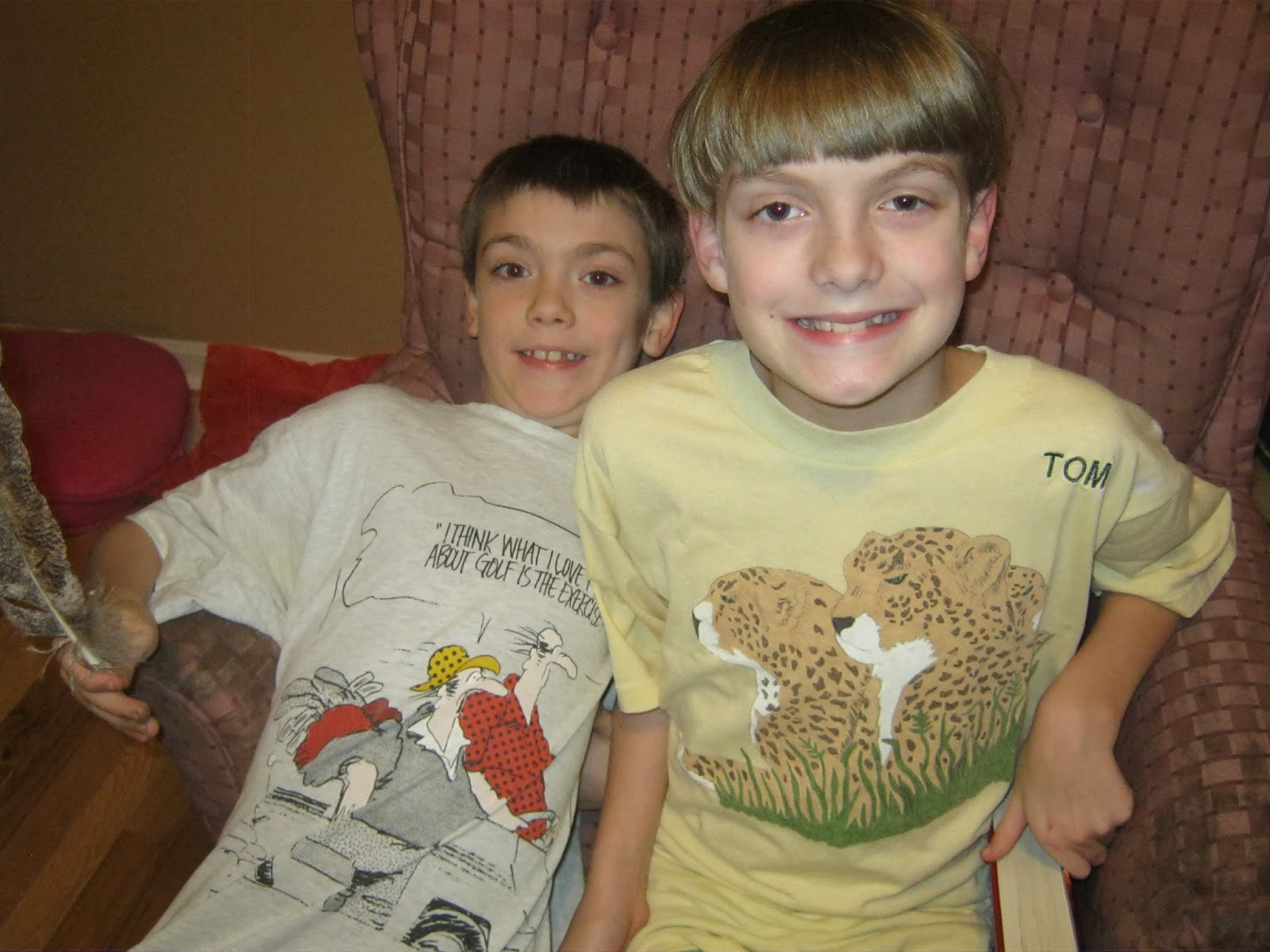 And here are the boys tonight. They are wearing some of Papaw s t-shirts as night  shirts. 5ba70393c