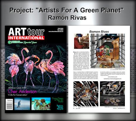 """Ramón Rivas. Proyecto """"Artists For A Green Planet"""", presentado en la revista ArtTour International y la página 62, en la que aparecen las obras de Ramón Rivas"""