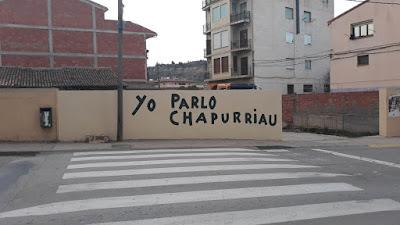 Pintada, yo parlo chapurriau, Valderrobres, enfrente de la comarca