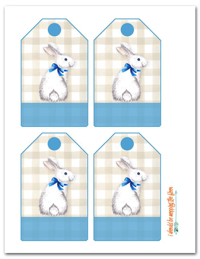 Blue Easter Basket Tags