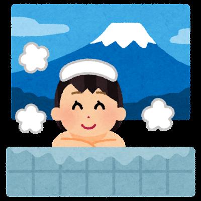 銭湯に入る人のイラスト(女性)