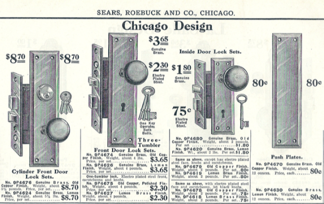 From 1918 Sears Building supplies catalog: door hardware, Chicago Design