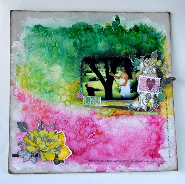 scrap album kolorowy ogród handmade