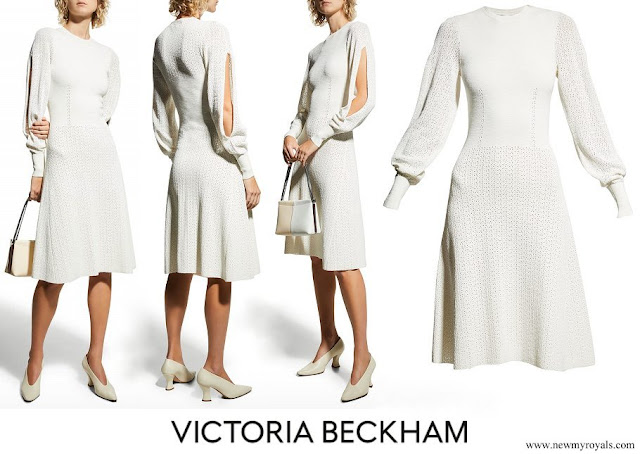 The Countess of Wessex wore Victoria Beckham Blouson Sleeve Knit Midi Dress