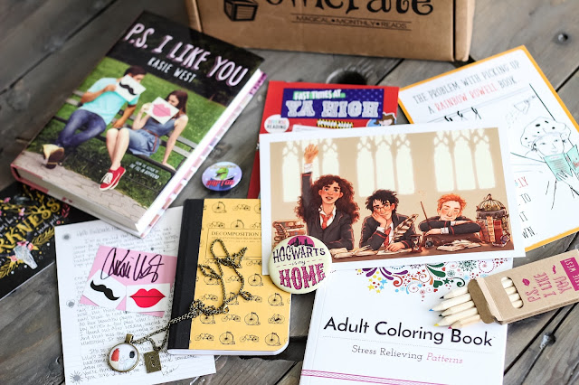August OwlCrate box with a theme YA High aka realistic/contemporary fiction story.  There is book fandom jewelry, Harry Potter artwork and pin, an adult coloring book, and the book PS I Like You by Kasie West with a letter and her signature.  Subscription Box, YA Lit, Teen reads, fun books, Alohamora Open a Book http://alohamoraopenabook.blogspot.com/
