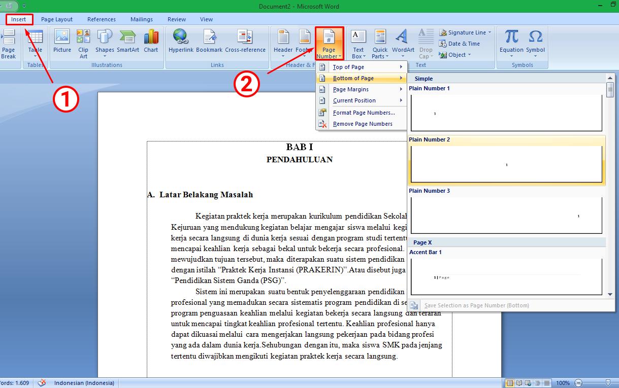cara buat nomor halaman di microsoft word 2010