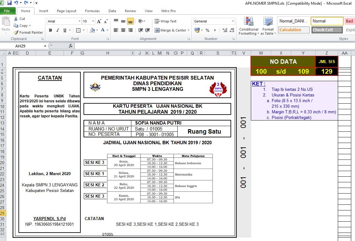 Cara Membuat Kartu Peserta Ujian dan Nomor Meja - Excel