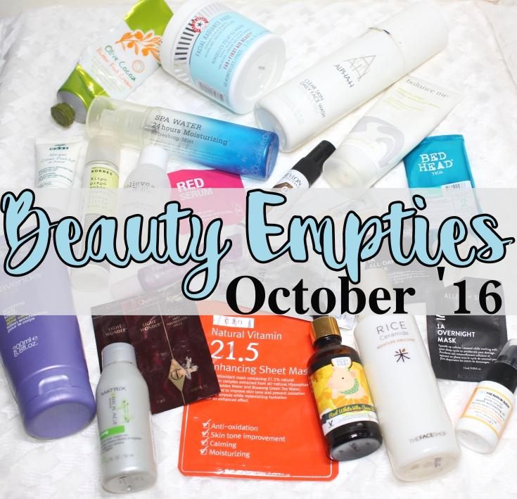 Here are the beauty products I used up in October 2016, and my quick thoughts on each.