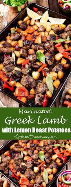 Marinated Greek Lamb with Lemon Roast Potatoes