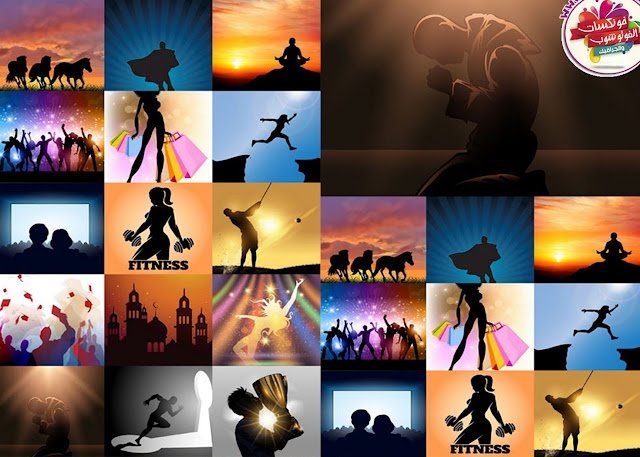 Download collection of people silhouettes vector images are different activities