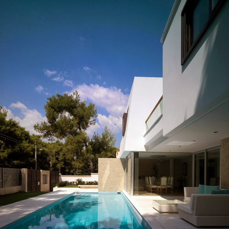 Terrace and swimming pool in Kostala House by Thanos Athanasopoulos