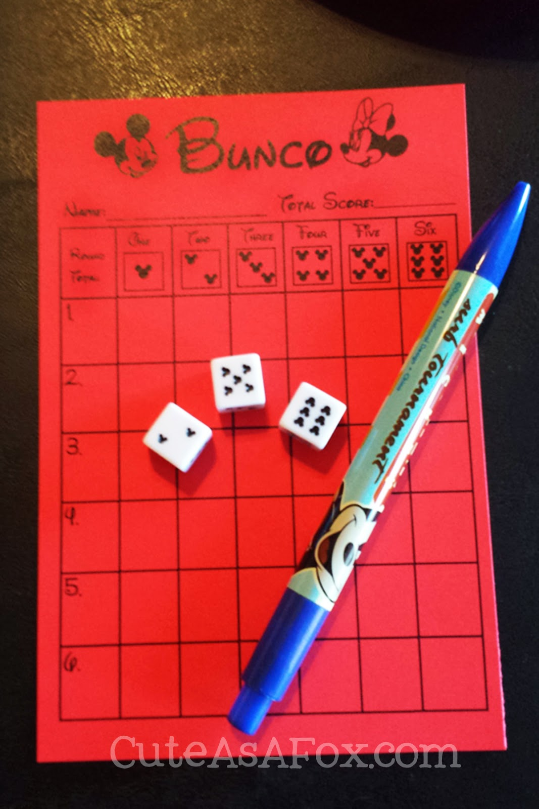 Disney Bunco Printable Scorecards