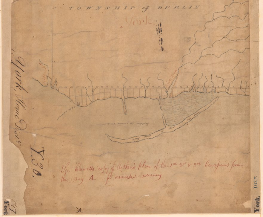 Plan of Eleven Townships fronting on Lake Ontario beginning at the River Trent and extending westerly to Toronto, Augustus Jones, 1791