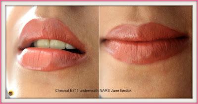Wet n Wild Color Icon Chestnut/Marron E711 Lip Liner with NARS Jane lipstick