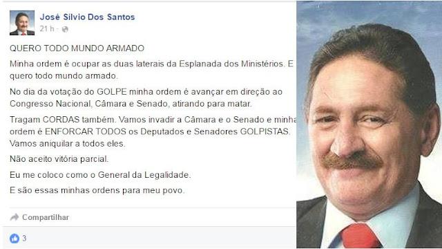 "Presidente do PDT ordena que militância pró-Dilma vá armada no domingo: ""Atirar para matar"""