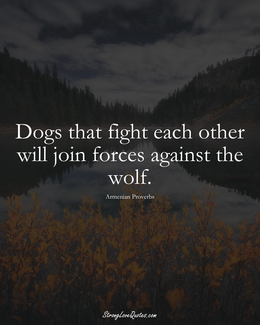 Dogs that fight each other will join forces against the wolf. (Armenian Sayings);  #AsianSayings