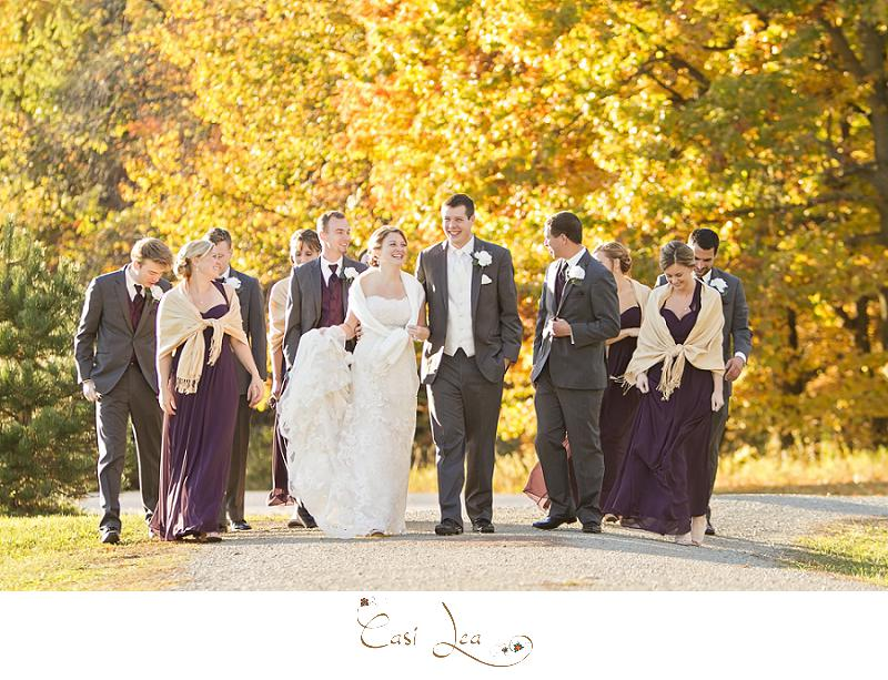 Candid Bridal Party Pose Fall Colors Autumn Wedding Purple Eggplant Bridesmaids