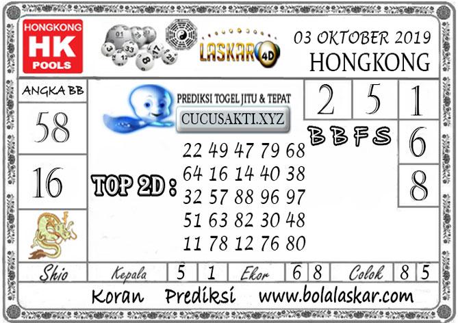 Prediksi Togel HONGKONG LASKAR4D 03 OKTOBER 2019